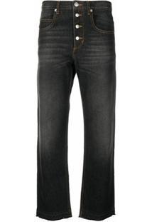 Isabel Marant Étoile Calça Jeans Reta Cropped - Preto