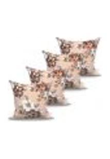 Conjunto De Capas De Almofadas Com 4 Peças Marrocos Bege 60X60 Cm