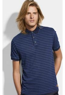 Camisa Polo Masculina Slim Listrada Em Algodão