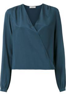 Egrey Blusa Transpassada De Seda - Azul