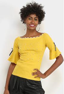 Blusa Lily Fashion Com Perolas Feminina - Feminino-Amarelo