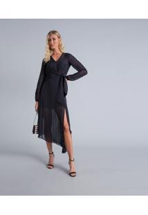 Vestido Mídi Assimétrico Preto Reativo - Lez A Lez