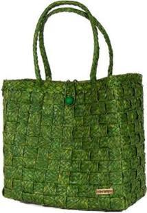 Bolsa Ana Viegas Tote-Shopper Palha Natural Forro Tecido Praia Feminina - Feminino-Verde