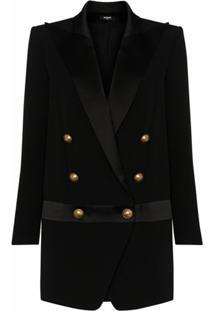 Balmain Vestido Com Transpasse E Abotoamento Duplo - Preto