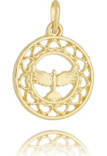 Pingente Espírito Santo Vazado Folheado Em Ouro 18K