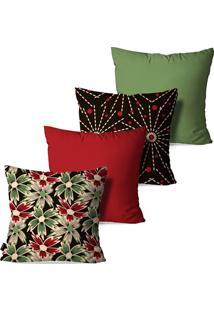 Kit Com 4 Capas Para Almofadas Pump Up Decorativas Vermelho Flores Abstrato 45X45Cm