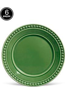 Conjunto 6Pçs Pratos Rasos Porto Brasil Atenas Verde