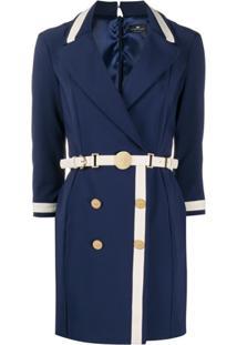 Elisabetta Franchi Vestido Bicolor Com Cinto - Azul