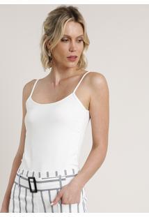 Regata Feminina Básica Alça Fina Decote Redondo Off White