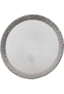 Sousplat Dunya Prata De Vidro 32 Cm Branco