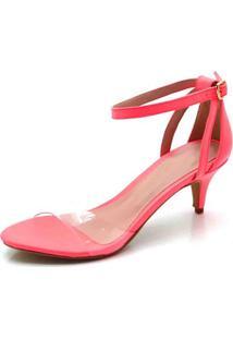 Sandália Salto Fino Fandarello Rosa Neon - Kanui