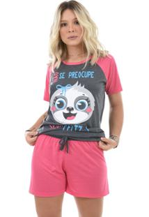 Baby Doll 4 Estações Pijama Preguiça Feminino Manga Curta Estampado Rosa