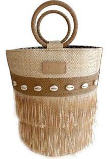 Bolsa Bucket Grande De Palha Com Franjas E Aplicação De Conchinhas - Feminino-Bege