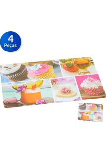 Jogo Americano Com Porta Copos Cupcake 4 Peças - Bon Gourmet - Colorido