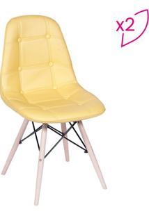 Jogo De Cadeiras Eames Botonê- Amarelo & Bege- 2Pçs