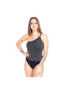 Body Up Side Wear Lurex Um Ombro Cinza