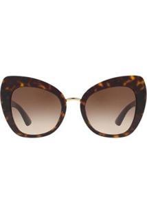 Óculos De Sol Dolce & Gabbana Tartaruga Feminino - Feminino-Marrom