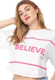 Camiseta Cropped Morena Rosa Believe Branco/Rosa - Kanui