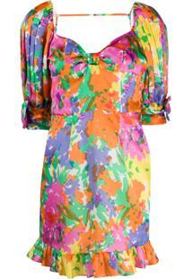 Alessandra Rich Vestido Com Estampa Floral - Rosa