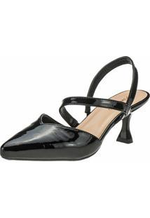 Sapato Scarpin Domidona Feminino Salto Taça Bico Fino Verniz Preto