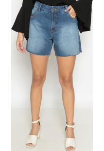 Bermuda Jeans Com Desfiado - Azulenna