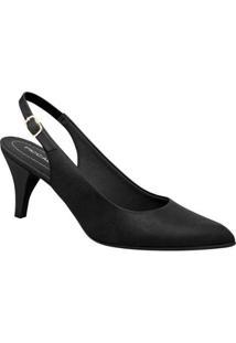 Sapato Piccadilly Casual Chanel Salto Alto Feminino - Feminino-Preto