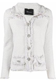 Blumarine Jaqueta De Tweed Com Botões Decorativos - Branco