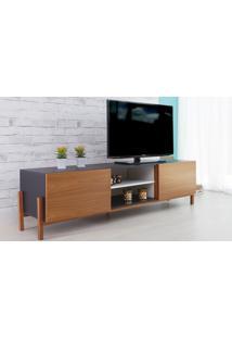 Rack Tv Preto Moderno Vintage Retrô Com 2 Portas Freijo Eric - 186X43,6X48,5 Cm