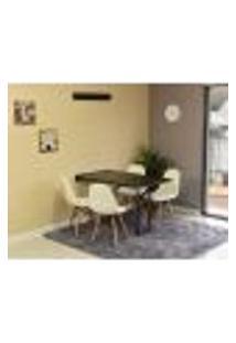 Conjunto De Mesa Dobrável Retrátil 120 X 75 Preta + 4 Cadeiras Botonê - Branca