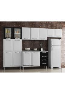 Cozinha Compacta 3 Peças 2 Portas De Vidro Premium Itatiaia Branco/Preto