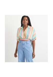 Camisa Cropped Em Viscose Listrada Com Gola E Decote Transpassado | Blue Steel | Multicores | M