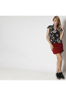 Blusa Floral Com Recorte Vazado - Preta & Salmã£O - Mmoisele