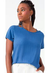 Blusa Feminina Com Gola Vazado Azul