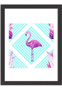 Quadro Decorativo Flamingo Tropical Moderno Preto - Médio