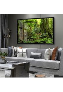 Quadro 60X90Cm Guará Árvore Folhagem Verde Moldura E Vidro Cristal
