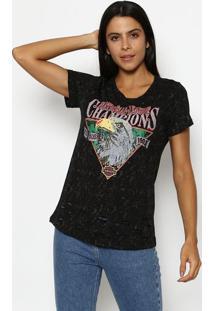 "Camiseta Estonada ""National League Champions""- Preta & Cclub Polo Collection"
