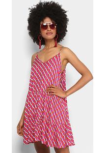 7667fedd30 Vestido Colcci Evasê Curto Estampado - Feminino-Roxo+Vermelho