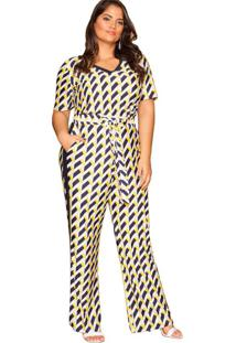 Calça Almaria Plus Size Pianeta Pantalona Amarelo