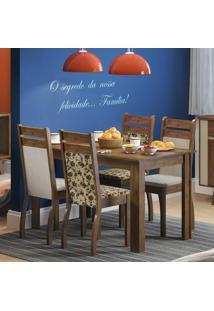 Conjunto De Mesa Com 4 Cadeiras Leila Linho Rustic E Pérola