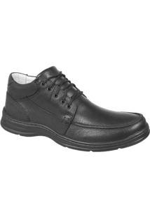 Sapato Confort Plus Em Couro Bmbrasil 2710 - Masculino-Preto
