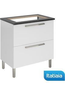Módulo Cozinha Gabinete Com Tampo Dandara Cooktop 5B 2 Gavetas - Igh1G1-80 - Branco - Aço - Itatiaia