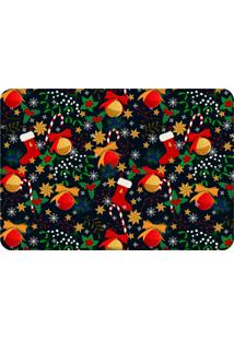Tapete Sala Love Decor Elementos Natalinos Coloridos Preto