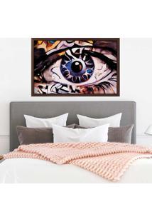 Quadro Love Decor Com Moldura Olhos Azuis Abstrato Madeira Escura - Grande