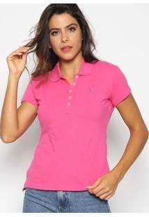 Polo Slim Fit Em Piqu㪠Com Bordado- Pink & Azul Royalaleatory