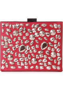 Bolsa Clutch Real Arte Com Pedrarias Vermelha