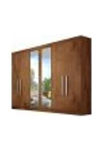 Guarda-Roupa Casal Com Espelho Alba 6 Pt Marrom