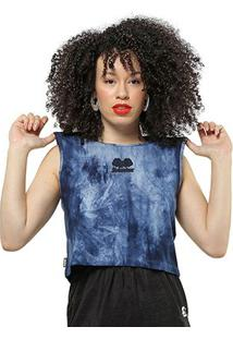 Camiseta Starter Cropped Tinturada - Feminino-Marinho