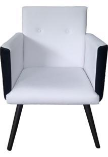 Poltrona Decorativa Pés Palito Nina Plus Corino/Suede Preto/Branco - Ds Móveis