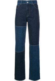 Pringle Of Scotland Calça Jeans Cintura Alta Com Patchwork - Azul