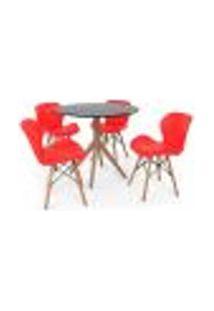 Conjunto Mesa De Jantar Maitê 80Cm Preta Com 4 Cadeiras Eames Eiffel Slim - Vermelha
